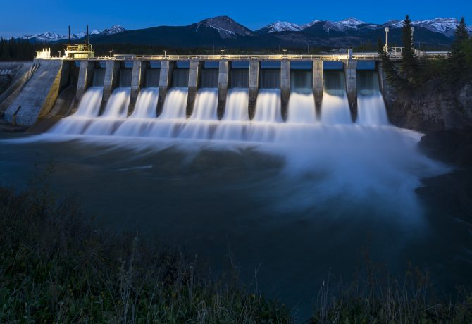 The Seebe Dam near Exshaw in Alberta Canada is used to produce hydroelectricity.